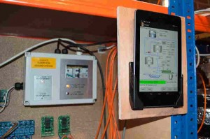 The heating control box shown in use with Hot Liquor Tank LED Active, The Android application is shown running also