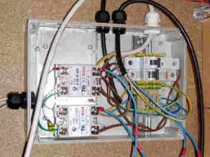 Inside the heating control box showing the Solid State Relays and the Circuit Breakers