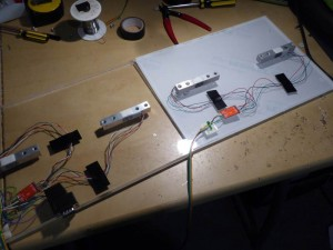 The weighing system wiring prior to putting the top platforms on.